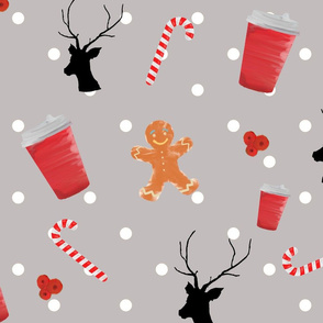 new year cup and  gingerbread on grey
