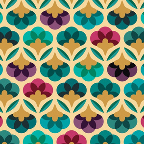 70s graphic flowers - large scale