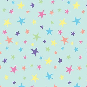 Rainbow Stars on Mint - Medium Scale