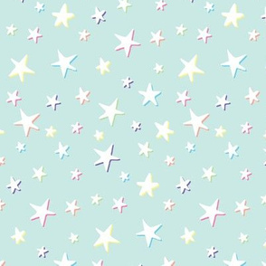 Rainbow Stars on Mint - White Shadow - Medium Scale
