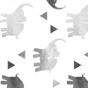 Elephants & Triangles - Silver - Rotated v2