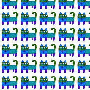 Cats in Blue and Green