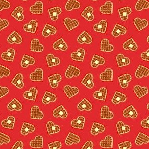 (extra small scale) heart shaped waffles - red - valentines food - LAD19BS