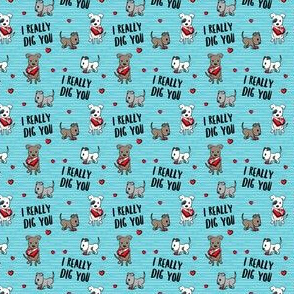 (extra small scale) I really dig you! - blue stripes - pit bull valentines day - LAD19BS