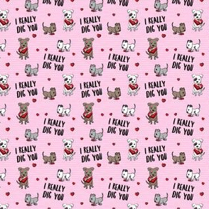 (extra small scale) I really dig you! - pink stripes - pit bull valentines day - LAD19BS