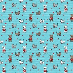 (extra small scale) Cute Valentine Pitties - blue stripes - pit bull valentines day - LAD19BS