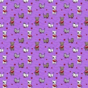 (extra small scale) Cute Valentine Pitties - purple stripes -  pit bull valentines day - LAD19BS