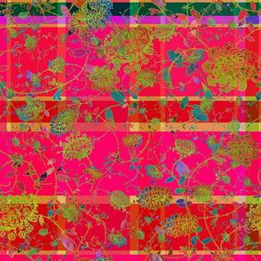 Boho Magenta Hot Pink Flower Child 18x18  Plaid