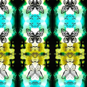Butterfly Ikat Totem Green and Yellow