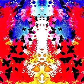 Fire Butterflies Ikat Watercolor