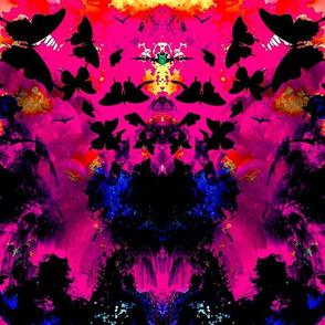 Dark Butterflies Ikat Watercolor