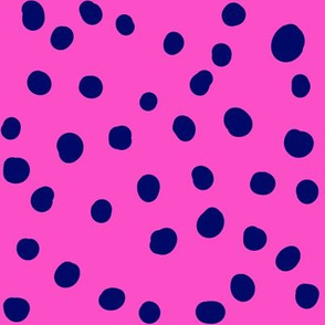 Pop Stripe Co-ordinates Dots Pink and Navy- small scale