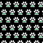 (small scale) K-9 unit Green line flag - police dog paw on black - LAD19BS