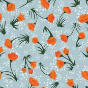 tiny orange floral  pattern