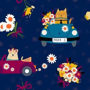 70's Flower Power Cats in Beetles
