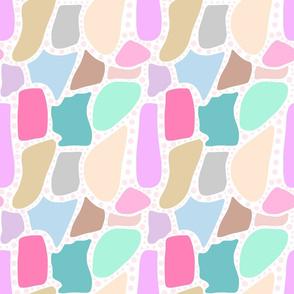 Pastel Crazy Stone - pink spots on white, medium