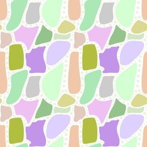 Pastel Crazy Stone - green spots on white, medium