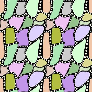 Pastel Crazy Stone - green spots on black, medium
