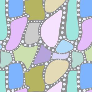 Pastel Crazy Stone - blue spots on grey, large