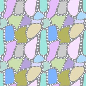 Pastel Crazy Stone - blue spots on grey, medium
