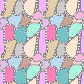 Pastel Crazy Stone - pink spots on grey, medium