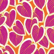 tropical pink leaf jungle pattern