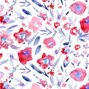 Magic meadow in red and indigo • watercolor flowers