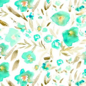 Magic meadow in aqua and earthy tones • watercolor flowers