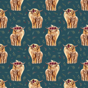 highland cattle on teal - medium size
