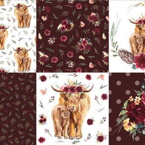 "highland floral cattle cheater quilt - 18"" squares"