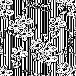 black and white flowers and stripes