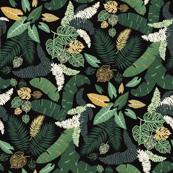 tropical lush garden leaf bed