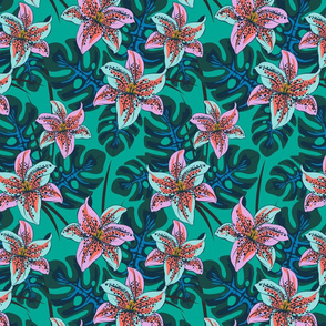 Tropical Lily-Teal