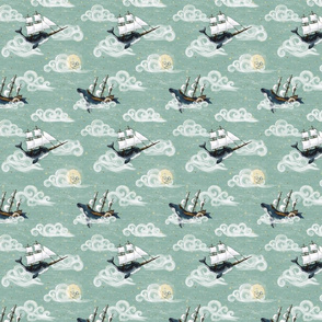 Small 3 inch whale, Whimsical Sky Wonderland