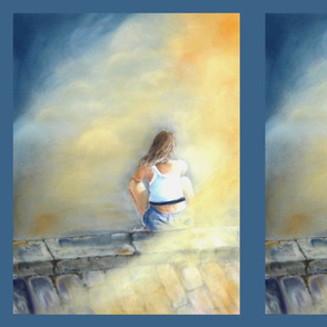 THE GIRL CHALK PASTEL DRAWING PANEL PSMGE
