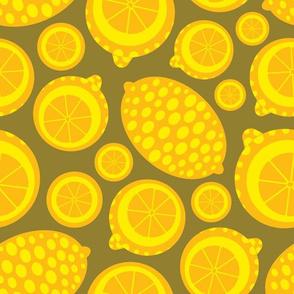 Bright Yellow Geometric Citrus Lemons from UnBlink Studio by Jackie Tahara