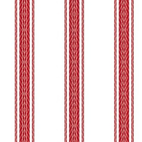 Modern French Ticking Stripe-Farmhouse Red/ white -Med -Large Feedsack