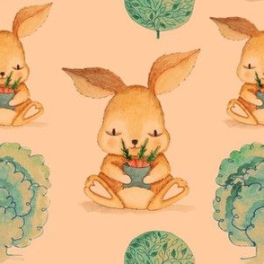 Cute Bunny with Carrots and Trees (Retro Color Small Size Print)