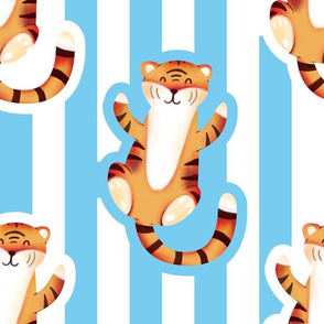 Cute Tiger with Stripes (Large Size Print)