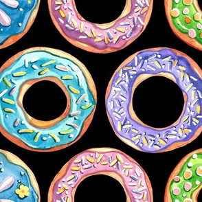 Colorful Donuts on Black (Large Size)