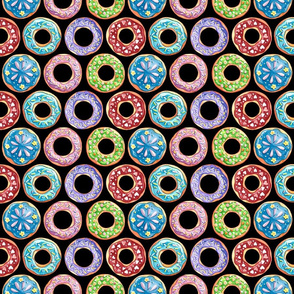 Colorful Donuts on Black (Small Size)
