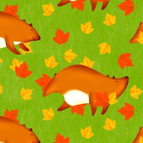 Bears Playing in Leaves (Medium Size Version)