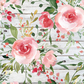 Blush Watercolor Floral on a White Wood Background - large scale