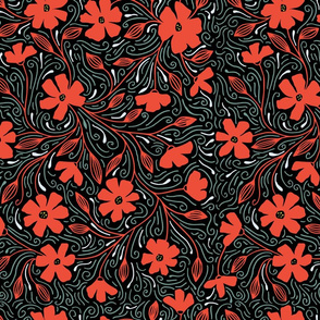 Floral Pattern blue and brown