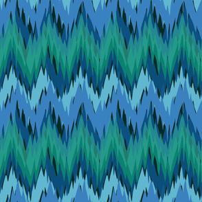 Malachite and Sapphire Flame Stitch