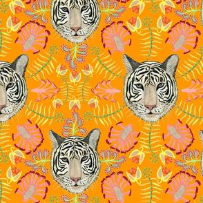 White Bengal Tiger Botanical, Orange