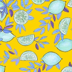 Pop Art Icey Lemons on Yellow
