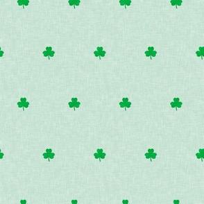shamrocks - polka dots - green on mint - St Patrick's day - LAD19
