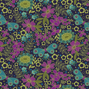 70's floral jewel-tone cool