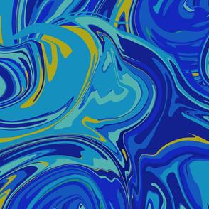 1970s Blue Swirls